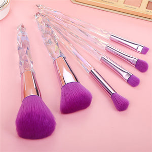 5 pc Purple Diamond Crystal makeup Brush Set - Timeless Modern Home