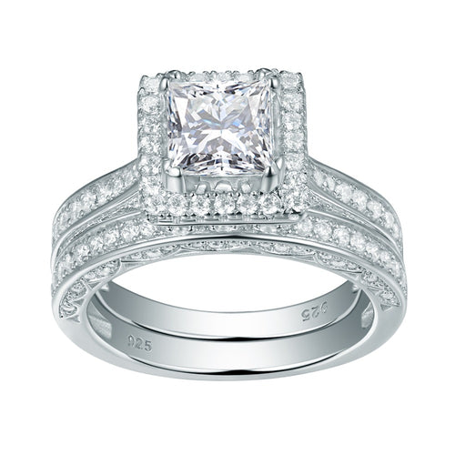 2pc Princess Cut Diamond Ring Set - Timeless Modern Home