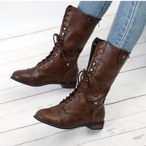 Women's Mid Calf Lace Up Boots