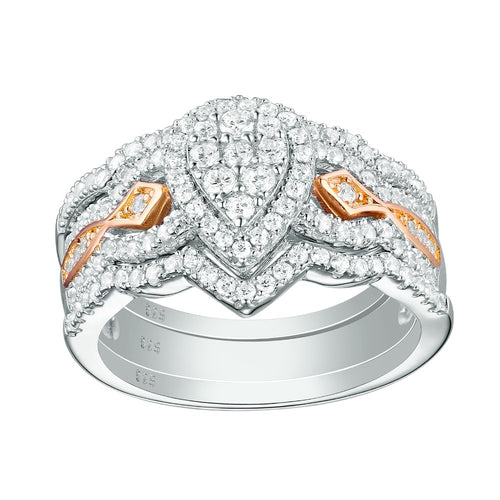 3 pc Luxury Pear Shaped Diamond Ring Set