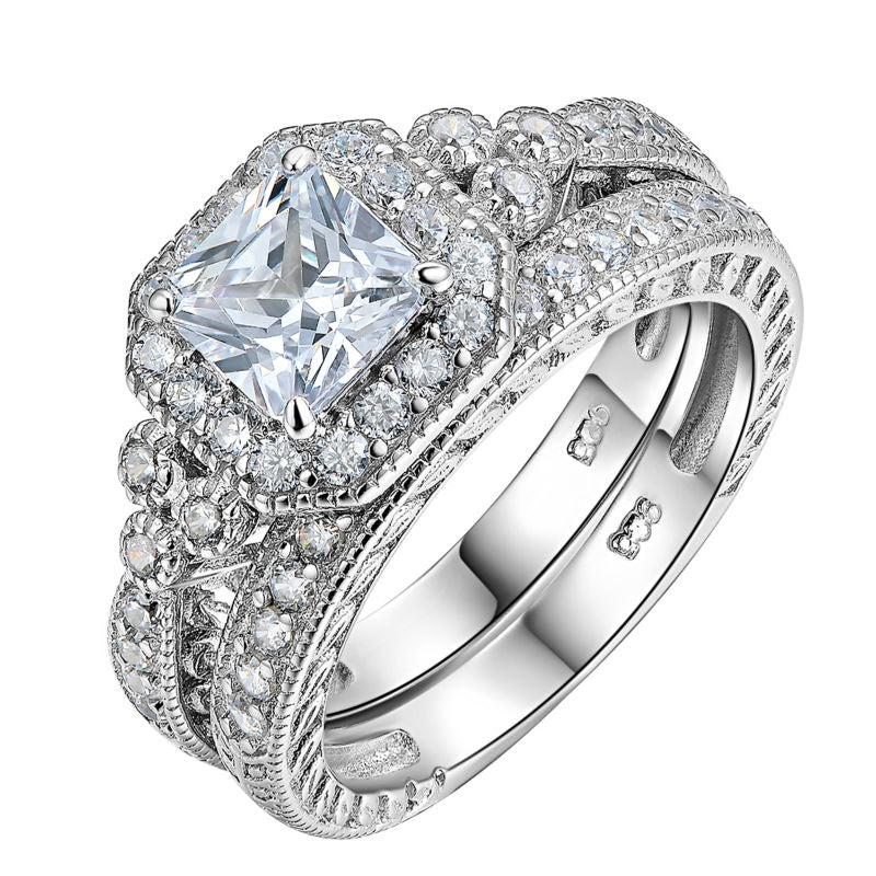 2pc Vintage Style Diamond Ring Set - Timeless Modern Home
