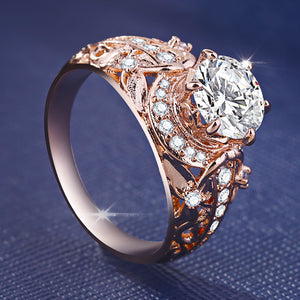 14k Rose Gold Diamond Ring - Timeless Modern Home