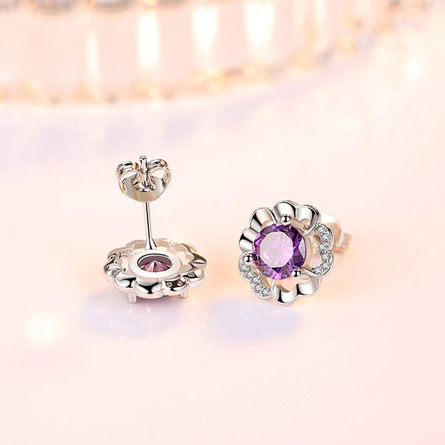 Purple Diamond Stud Earrings - Timeless Modern Home
