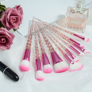10 pc Diamond Crystal Makeup Brush Set - Timeless Modern Home