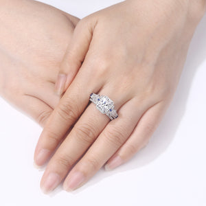 2 pc Classic Princess Cut Diamond Ring Set - Timeless Modern Home