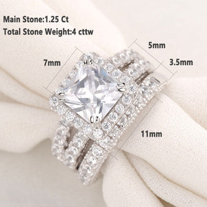 2 pc Princess Cut Diamond Ring Set - Timeless Modern Home