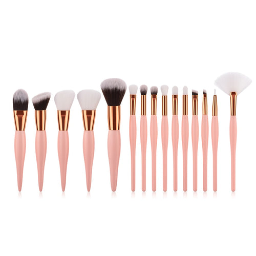 15 pc Professional Pink Makeup Brush Set - Timeless Modern Home