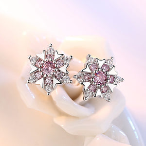 Pink Snowflake Sterling Silver Earrings - Timeless Modern Home