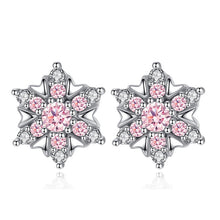 Load image into Gallery viewer, Pink Snowflake Sterling Silver Earrings - Timeless Modern Home