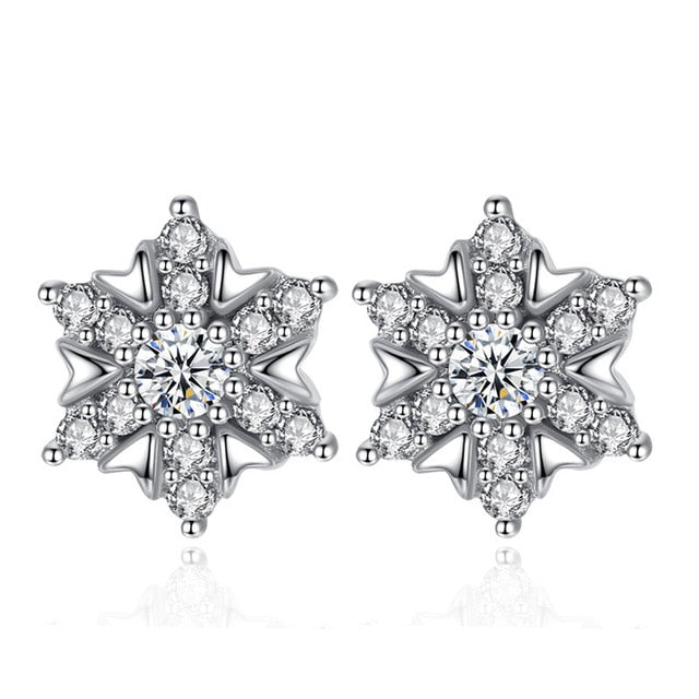 Snowflake Sterling Silver Earrings - Timeless Modern Home