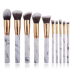 10 pc Professional Marble Makeup Brush Set - Timeless Modern Home