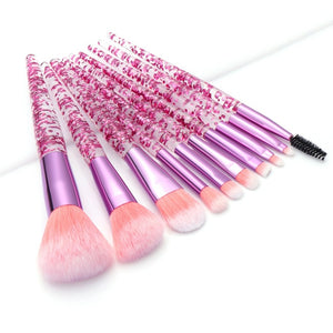 10 Pcs Diamond Crystal Makeup Brushes Set Tools - Timeless Modern Home