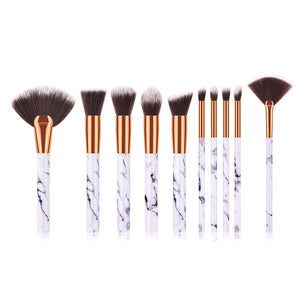10 pc Marble Makeup Brush Set - Timeless Modern Home
