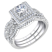 Load image into Gallery viewer, 3pc Luxury Princess Cut Diamond Ring Set - Timeless Modern Home