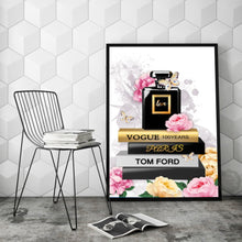 Load image into Gallery viewer, Perfume Stacked Books Wall Art Canvas - Timeless Modern Home
