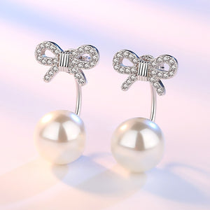 Elegant Bow Tie Diamond Stud Earrings - Timeless Modern Home