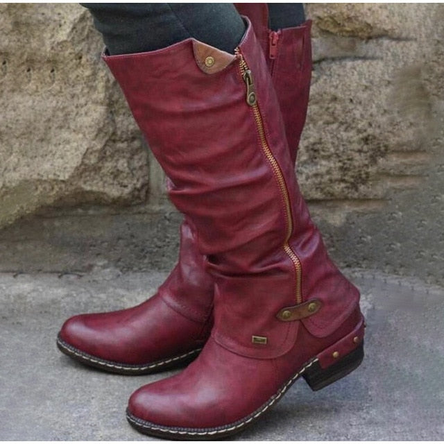 Women's Mid-Calf Leather Boots