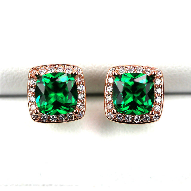 Luxury Emerald Stud Earrings - Timeless Modern Home