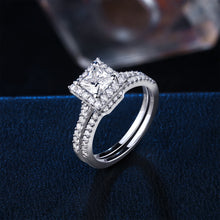 Load image into Gallery viewer, 2 pc Luxury Princess Cut Diamond Ring Set