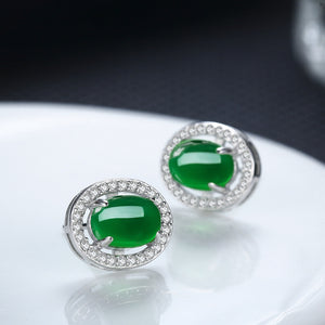 Vintage Green Chalcedony Natural Stone Earrings - Timeless Modern Home