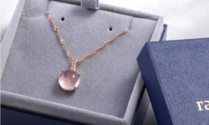 Pink Crystal Diamond Pendant Necklace - Timeless Modern Home