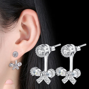 Elegant Bow Tie Diamond Drop Earrings - Timeless Modern Home