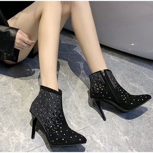 Women's Rhinestone High Heel Ankle Boots