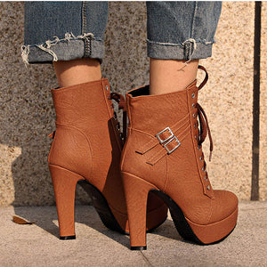 Women's Lace Up High Heel Ankle Boots