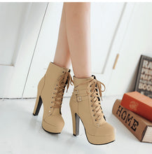 Load image into Gallery viewer, Women's Lace Up High Heel Ankle Boots