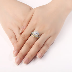 2 pc Luxury Cushion Cut Diamond Ring Set