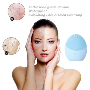 Electric Silicone Exfoliating Sonic Facial Cleansing Brush