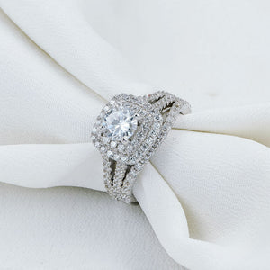 2 pc Victorian Style Diamond Ring Set - Timeless Modern Home