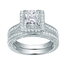 Load image into Gallery viewer, 2pc Princess Cut Diamond Ring Set - Timeless Modern Home