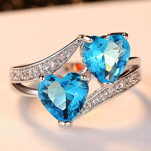 Elegant Double Heart Diamond Ring - Timeless Modern Home