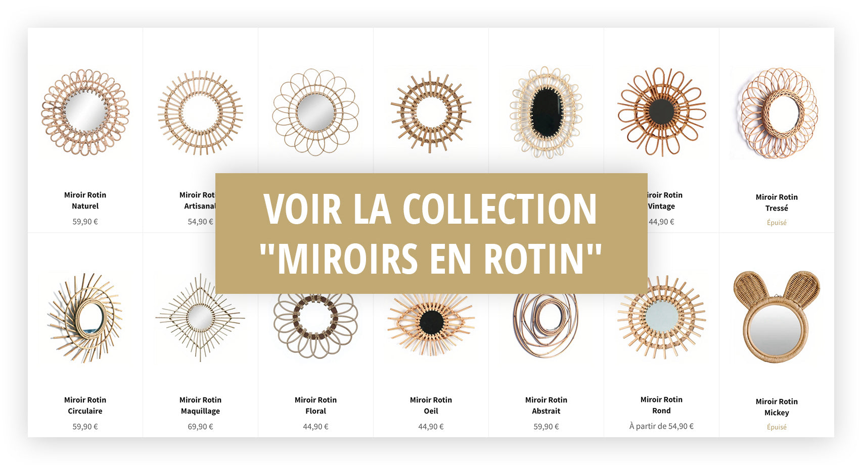 Collection Miroir Rotin
