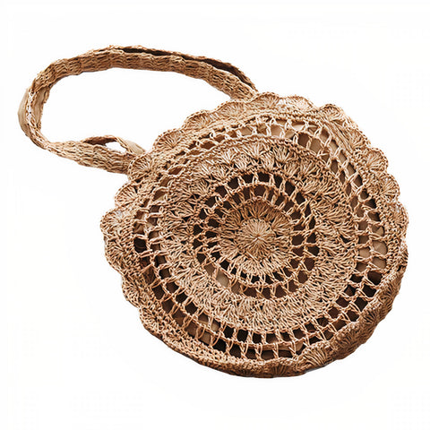 Sac Rond Paille <br>Style Dentelle