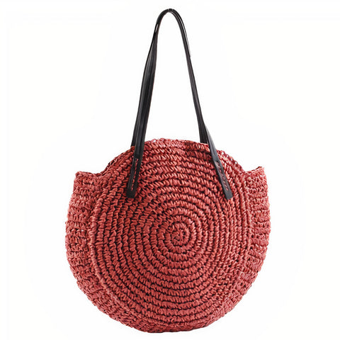 Sac Rond Paille Rouge