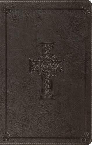 ESV LP Thinline Bible Charxoal Celtic Cross Design