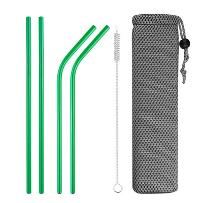 mixed metal straws green with brush and bag