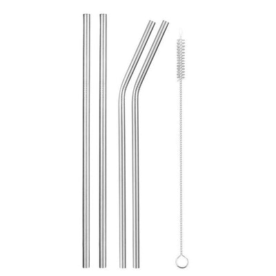 mixed metal straws silver with brush
