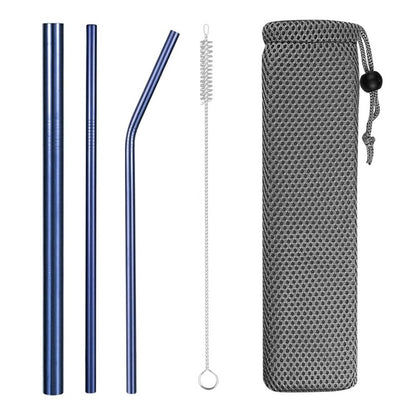hybrid metal straws blue with brush and bag