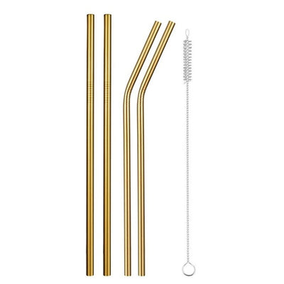 mixed metal straws golden with brush