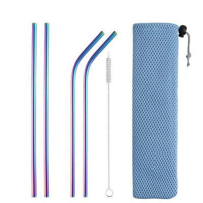 mixed metal straws rainbow with brush and bag