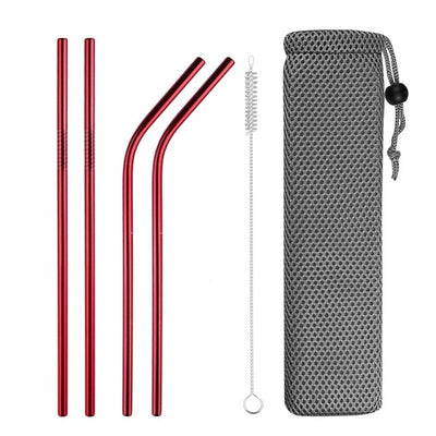 mixed metal straws red