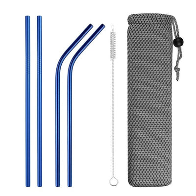 mixed metal straws blue