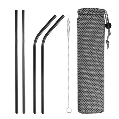 mixed metal straws black