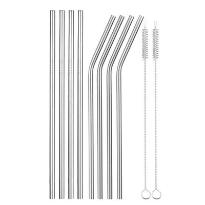 eight metal straws with two brushes