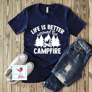 Life is Better Around the Campfire - White Print