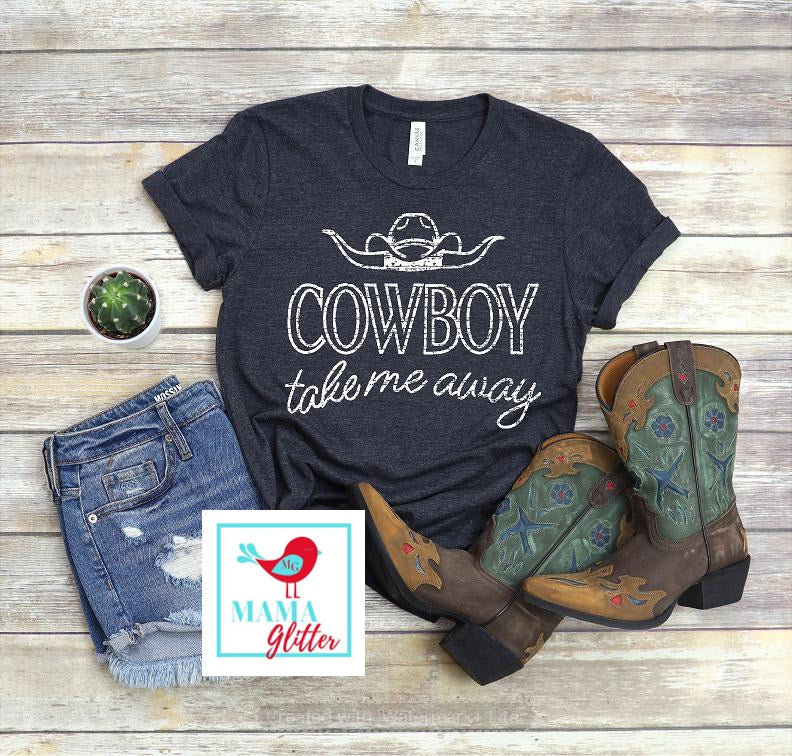 Cowboy Take Me Away-White Print