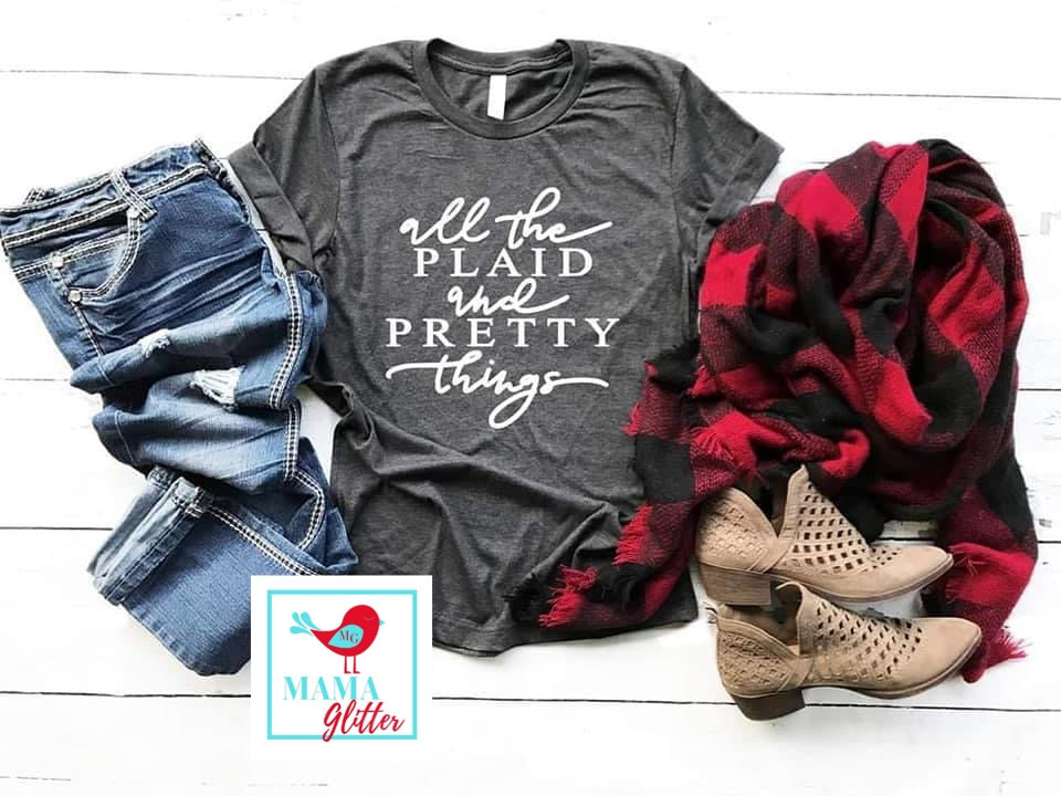 All the Plaid and Pretty Things - white print